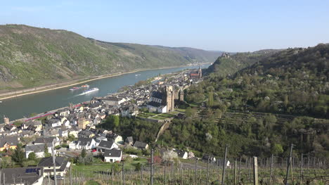 Germany-Oberwesel-With-Barges-On-Rhine