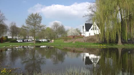 Germany-Rees-Pond-With-Reflections-And-Willow-Tree