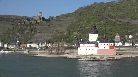 Germany-Rhine-Gorge-Die-Pfalz-And-Train