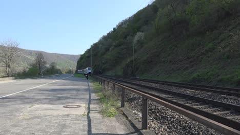 Germany-Rhine-Gorge-Train-Goes-By