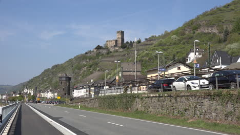 Germany-Rhine-Kaub-With-Road-And-Atv