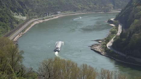 Germany-Rhine-Loreley-Bend-With-Barges-Zoom-Out