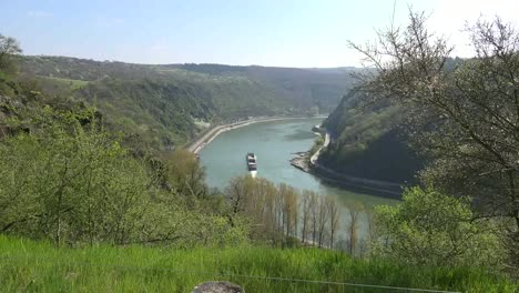 Germany-Rhine-Loreley-Procession-Of-Barges-Time-Lapse