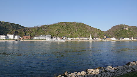 Germany-Rhine-River-With-Town-On-Bank
