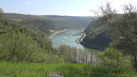 Germany-Rhine-At-Loreley-Zoom-In-On-Barge