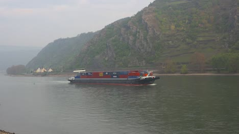 Germany-Rhine-Container-Barge-Early-Morning