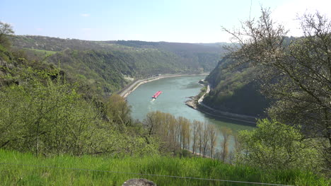 Germany-Rhine-From-Loreley-Zoom-On-Red-Barge