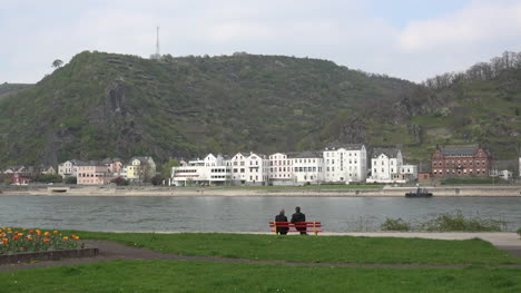 Germany-St-Goar-Men-On-Bench-By-Rhine