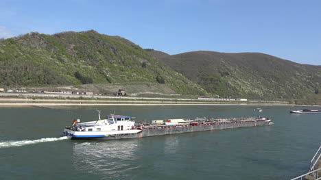 Germany-Barges-Move-Along-The-Rhine-In-The-Gorge