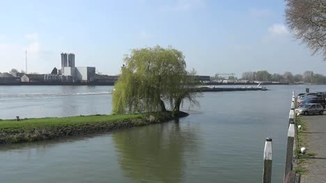 Netherlands-Schoonhoven-Barge-And-Willow-And-Walkway-Pan-Right
