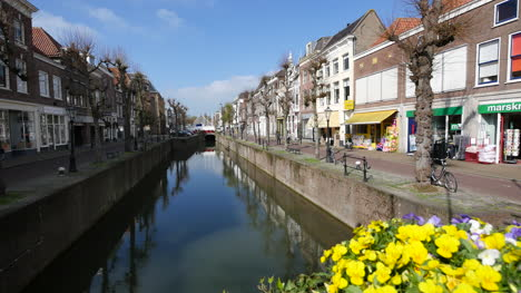 Netherlands-Schoonhoven-Flowers-And-Canal