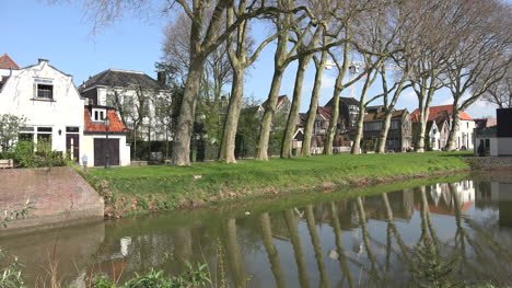 Netherlands-Schoonhoven-Reflections-In-Canal