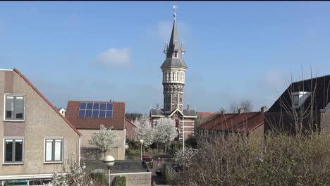 Netherlands-Schoonhoven-Watchtower-With-Little-Girl-Pan-Left