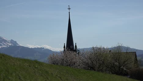 Switzerland-La-Gruyere-Alpine-View-With-Church-Steeple