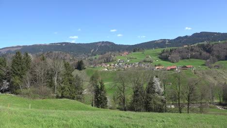 Switzerland-La-Gruyere-Distant-Village-Zoom-In