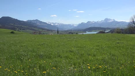 Switzerland-La-Gruyere-Region-View-With-Meadow-And-Distant-Lake