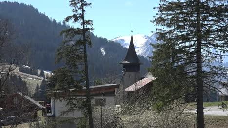 Switzerland-Church-And-Mountain-View