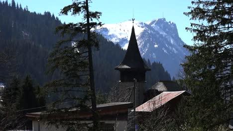 Switzerland-Church-Steeple-And-Mountain