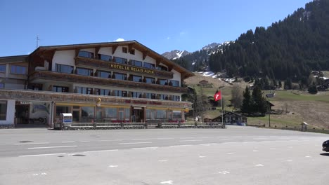 Switzerland-Hotel-And-Sports-Car-At-The-Col-Des-Mosses