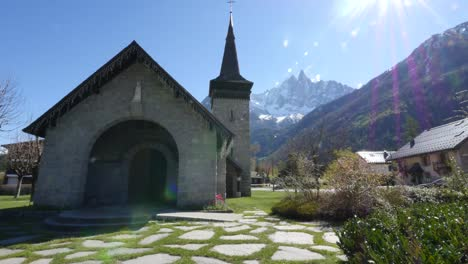 France-Chamonix-Church-With-Dramatic-Sunflare