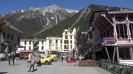 France-Chamonix-Downtown-With-Woman-On-Phone