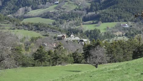 France-Church-And-Houses-In-French-Alpine-Hamlet-Zoom-In