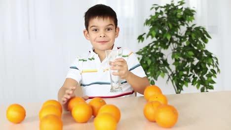 Boy-Drinking-Orange-Juice-And-Licked
