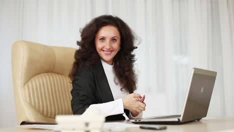 Business-Woman-In-Office-Is-Happy-Victory-She-Rubs-Her-Hands-Dolly-Hd