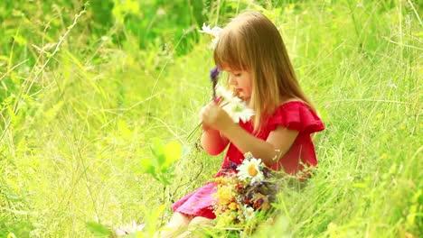 Niña-Recogiendo-Un-Ramo-De-Flores-Silvestres