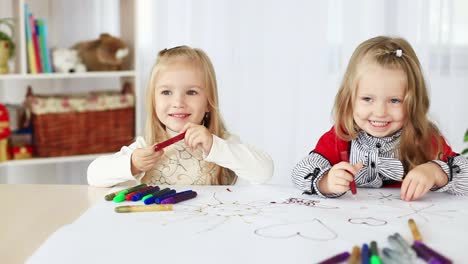 Two-Girls-Learn-To-Paint-Sitting-At-The-Table-Dolly-Hd