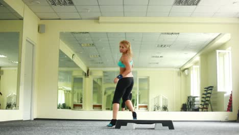 Woman-Doing-Exercises-With-Aerobic-Step-Dolly-Hd-Part-4-Of-8