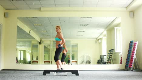 Woman-Doing-Exercises-With-Aerobic-Step-Dolly-Hd-Part-7-Of-8
