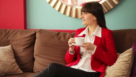 Businesswoman-Drinking-Coffee-With-Smile