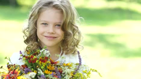 Coseup-Portrait-Of-A-Girl-With-A-Bouquet-Of-Flowers
