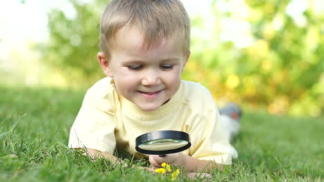 Portrait-Of-A-Young-Boy-With-A-Magnifying-Glass-Lying-On-The-Grass