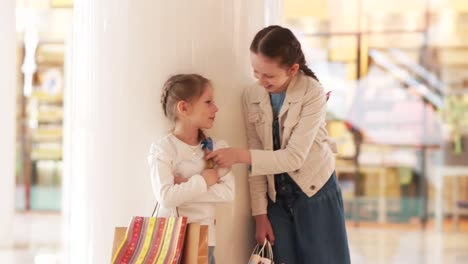 Two-Sisters-With-Shopping-And-Looking-At-Camera