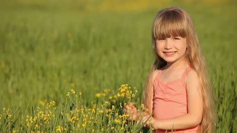 Kid-Sitting-In-Field-And-Picking-Flowers