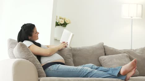 Pregnant-Woman-Resting-On-Sofa-Reading-Book