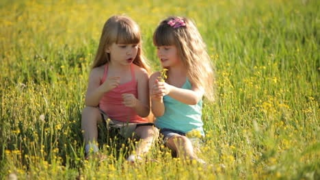 Two-Little-Girls-Sitting-On-Grass-And-Holding-Flowers