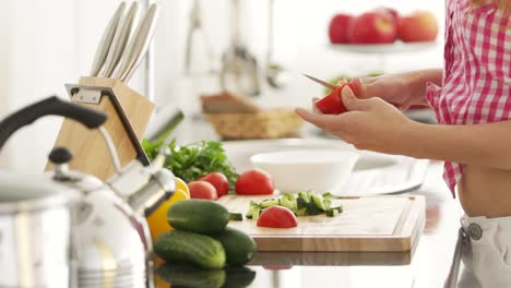 Young-Woman-Chopping-Vegetables-In-Kitchen