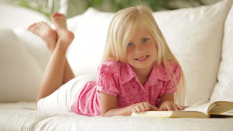 Beautiful-Little-Girl-Lying-On-Sofa-Reading-Book-And-Smiling-At-Camera