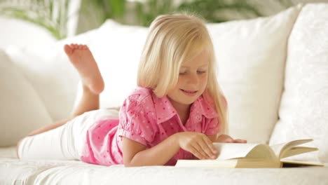 Cute-Little-Girl-Lying-On-Sofa-Reading-Book-And-Smiling