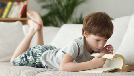 Funny-Little-Boy-Lying-On-Sofa-And-Turning-Pages-Of-Book