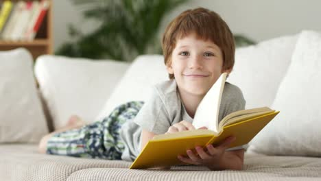 Little-Boy-Lying-On-Sofa-With-Book-And-Smiling
