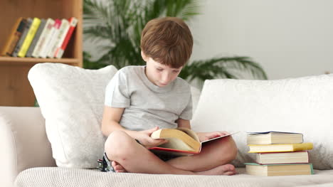 Little-Boy-Sitting-On-Sofa-And-Turning-Pages-Of-Book