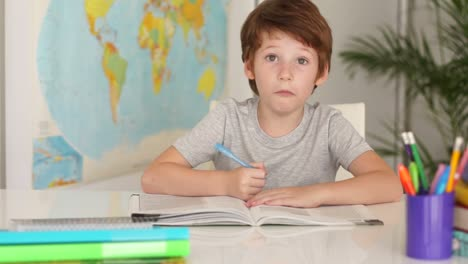 Schoolboy-Studying-At-Desk-And-Making-Funny-Faces-At-Camera