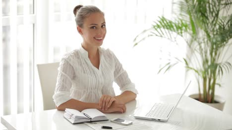 Attractive-Businesswoman-Sitting-At-Table-And-Using-Laptop
