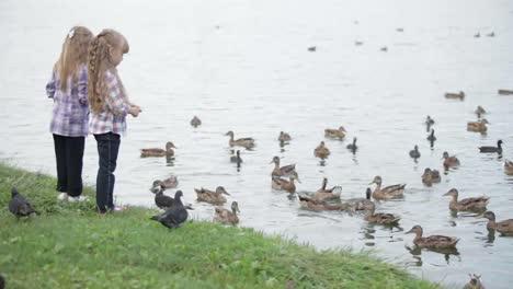 Zwei-Hübsche-Kleine-Mädchen-Im-Park-Die-Enten-Füttern-Sich-Umdrehen-Und-Mit-Ihren-Winken