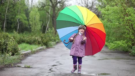 Cheerful-Little-Girl-Hiding-Behind-Umbrella-In-The-Park-Thumbs-Up