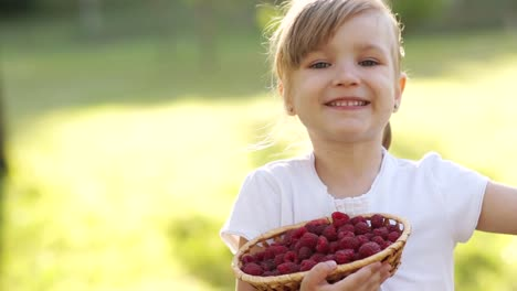 Child-With-Basket-Of-Raspberry-Outdoors
